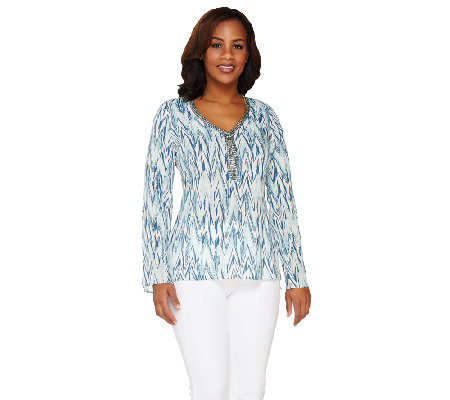 Lisa Rinna Collection Printed Top with Neckline Embellishment