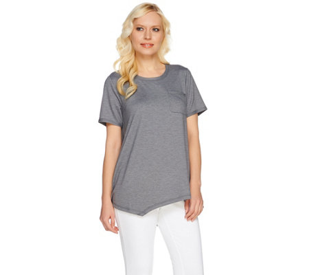 LOGO Lounge by Lori Goldstein French Terry Asymmetric Hem Top with Pocket