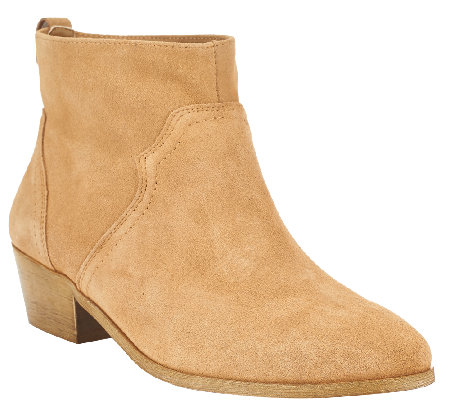 Sole Society Suede Ankle Boots w/ Stacked Heel - Carson