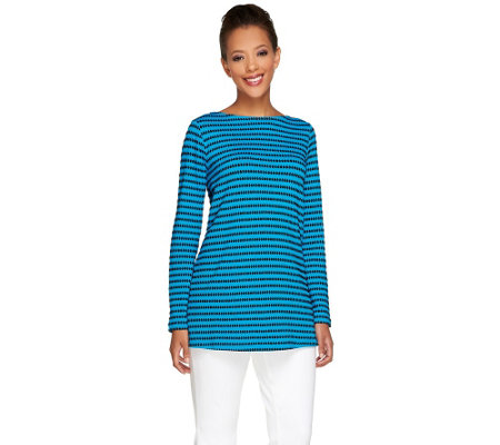 Susan Graver Novelty Knit Long Sleeve A-Line Tunic
