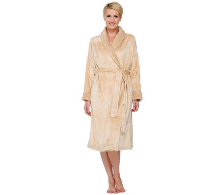 Stan Herman Petite Silky Plush Long Wrap Robe