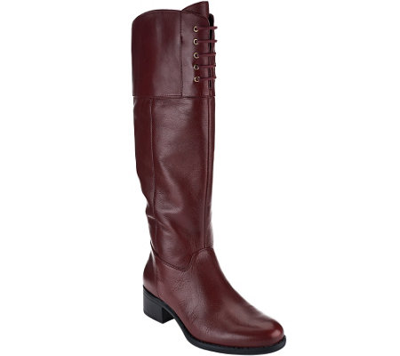 Isaac Mizrahi Live! Wide Calf Leather Riding Boots w/ Lace Detail