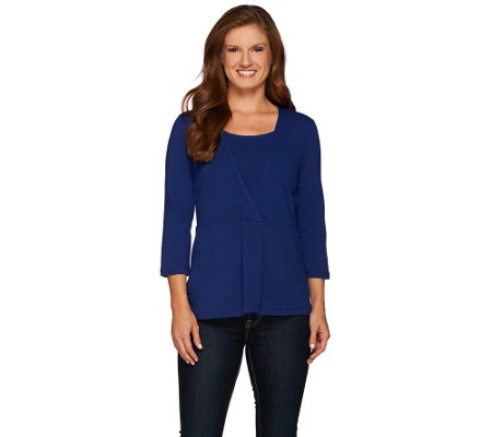 Denim & Co. Jersey Wrap Front Top with Faux Tank