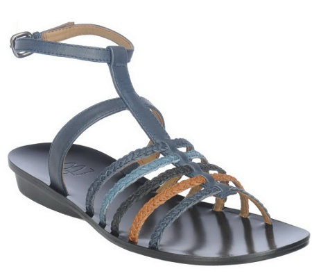 """As Is"" B. Makowsky Leather Braided Strappy Sandals w/ Ankle Strap"