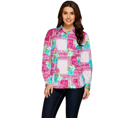 Susan Graver Printed Stretch Cotton Button Front Shirt