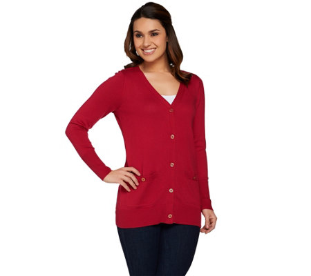 C. Wonder Button Front Boyfriend Cardigan with Patch Pockets