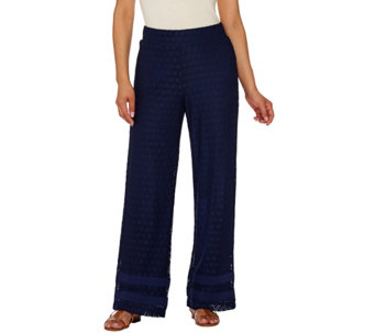 Isaac Mizrahi Live! Petite Wide Leg Lace Pull On Pants - A275493