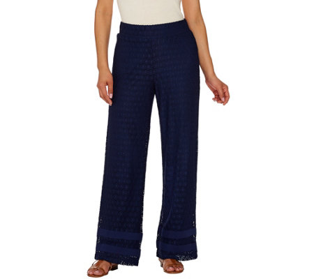 Isaac Mizrahi Live! Petite Wide Leg Lace Pull On Pants