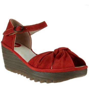 FLY London Leather Peep-toe Adj. Ankle Strap Sandals - Yoel