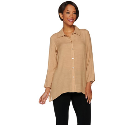 Joan Rivers Lightweight Gauze Boyfriend Shirt with Asymmetric Hem