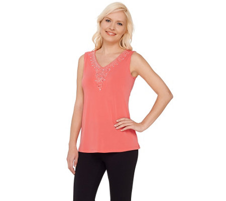 """As Is"" Susan Graver Artisan Liquid Knit V-Neck Sleeveless Top"