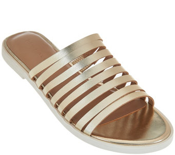 H by Halston Strappy Leather Flat Slide - Cora - A276493