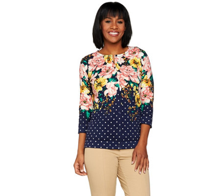 Isaac Mizrahi Live! Engineered Floral Dot Cardigan