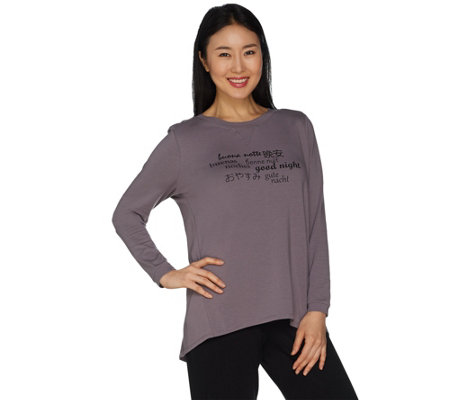 AnyBody Loungewear Cozy Knit Inspirational Message Top