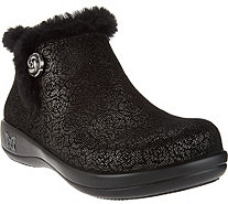Alegria Water Resistant Leather Ankle Boots w/ Faux Fur - Meri - A283293