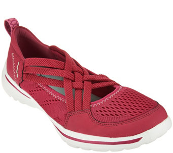 """As Is"" Earth Origins Mesh Stretch Cross Straps Slip-On Sneakers - A283593"