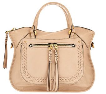 """As Is"" orYANY Pebble Leather Satchel with Braiding Detail - Sarah - A284293"