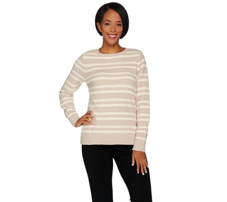 Susan Graver Striped Cozy Knit Long Sleeve Sweater
