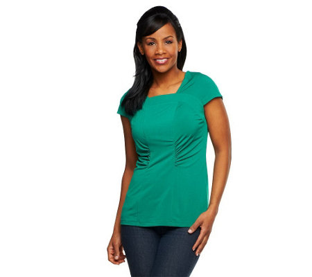 """As Is"" George Simonton Chic Jersey Square Neck Top with Seaming Detail"
