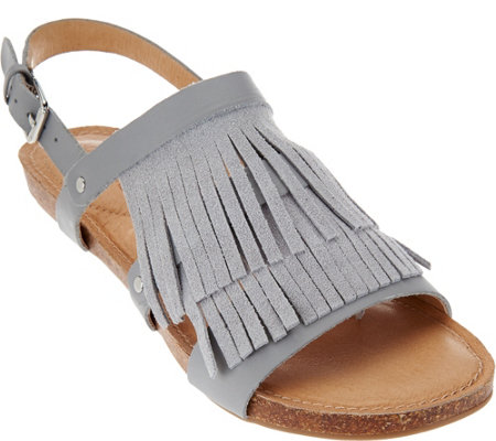 """As Is"" Adam Tucker Leather Fringe Sandals Adj Ankle Strap - Nigella"