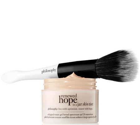philosophy renewed hope in a jar skin tint with brush