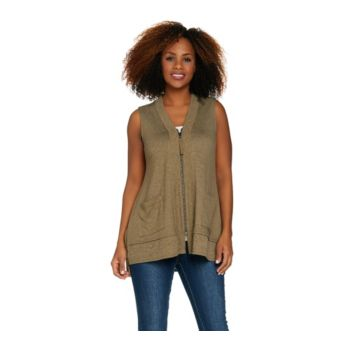 LOGO Lounge by Lori Goldstein French Terry Zip Front Vest w/ Rib Details