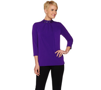 """As Is"" Susan Graver Artisan Liquid Knit Embellished Mock Neck Top - A289193"