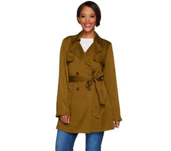 """As Is"" Isaac Mizrahi Live! Double Breasted Draped Trench Coat - A289293"