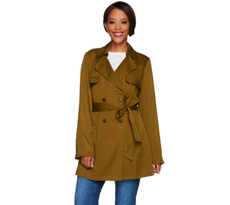 """As Is"" Isaac Mizrahi Live! Double Breasted Draped Trench Coat"