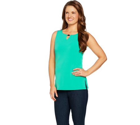 Susan Graver Liquid Knit Sleeveless Top with Keyhole Trim