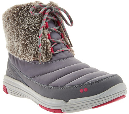 """As Is"" Ryka Faux Fur Water Repellent Lace-up Boots - Addison"