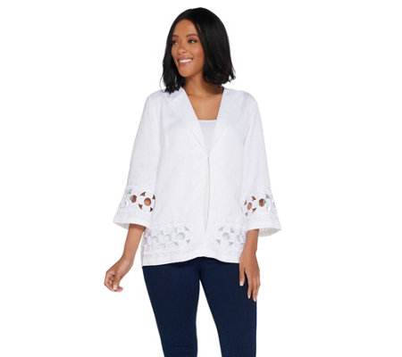 Bob Mackie's Floral Embroidered Cut-Out Linen Jacket