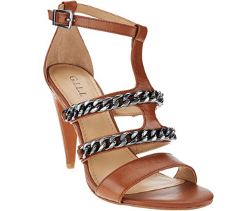 """As Is"" G.I.L.I. Leather Sandals w/Chain Detail - Nylah - A291193"