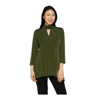 Susan Graver Liquid Knit Mock Neck Top with Keyhole