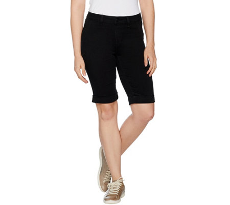 Hot in Hollywood Silky Denim Black Bermuda Pull-On Shorts - Page 1 ...