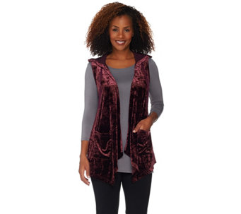 """As Is"" LOGO by Lori Goldstein Panne Velvet Cascade Front Vest w/ Chiffon - A292893"
