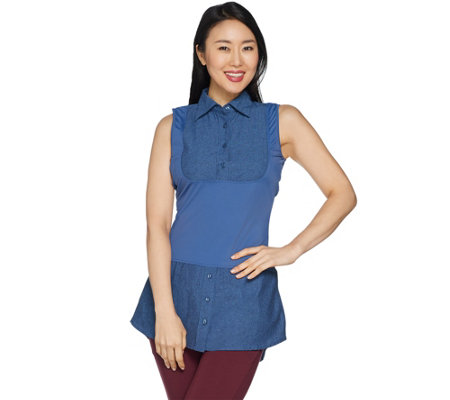 Kathleen Kirkwood Dictrac-Ease Chambray Shirttail Top