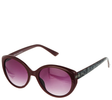 """As Is"" H by Halston Round Framed Sunglasses with Metallic Detail"