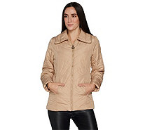 Dennis Basso Chevron Quilted Zip Front Jacket - A298293