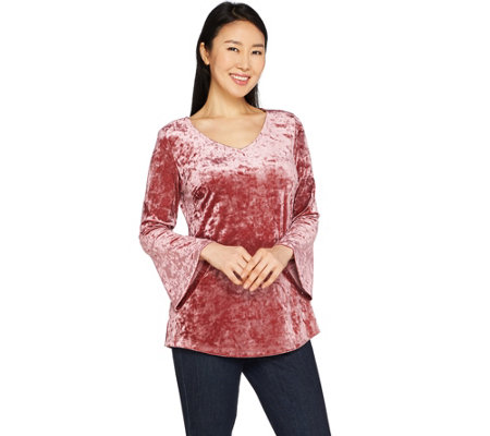 Isaac Mizrahi Live! Crushed Velvet V-neck Bell Sleeve Top