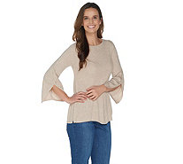 H by Halston Boatneck 3/4 Sleeve Pullover with Sleeve Detail - A303193