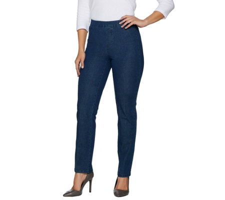 """As Is"" Isaac Mizrahi Live! Regular 24/7 Denim Straight Leg Jeans"