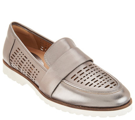 Earth Perforated Leather Slip-on Loafers - Masio