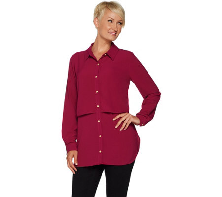 """As Is"" Susan Graver Regular Stretch Woven Button Front Shirt"