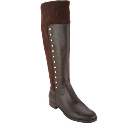 """As Is"" Marc Fisher Leather Tall Shaft Studded Boots- Damiya"