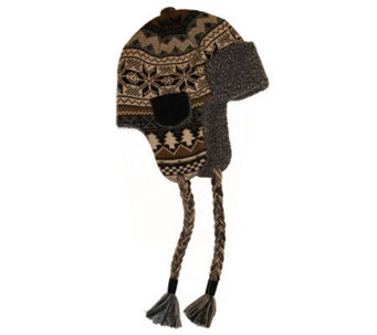 MUK LUKS Traditional Knit Button Top Trapper Ha t for Men - A320493