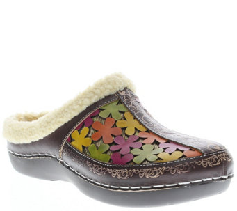 Spring Step L'Artiste Leather and Textile Clogs- Woodbine - A338193