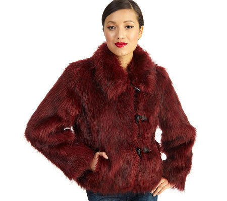 Luxe Rachel Zoe Faux Fur Toggle Coat with Wing Collar