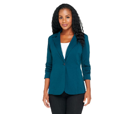 Susan Graver Soho Ponte Boyfriend Style Jacket with Ruched Sleeves