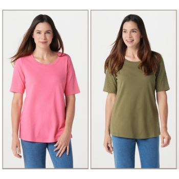Quacker Factory Golden Tones Set of 2 Elbow Sleeve T-shirts